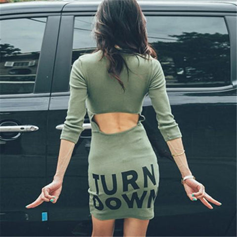 Army Green Monogram Print Cut Out Backless Round Neck Three Quarter Length Sleeve Bodycon Boutique Mini Dress