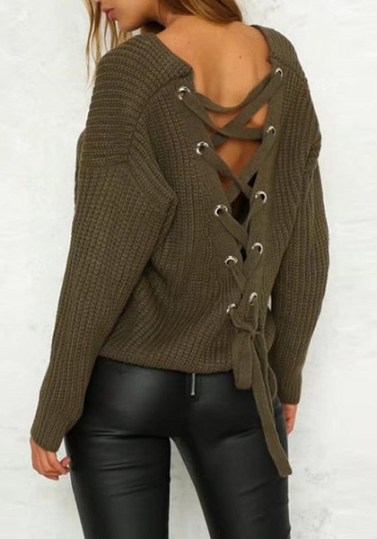 Casual Army Green Patchwork Cut Out Drawstring Backless V-neck Long Sleeve Sweater