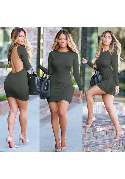 Streetstyle  Casual Army Green Plain Backless Round Neck Mini Dress
