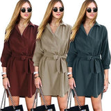ByChicStyle Casual Army Green Plain Belt Bow Irregular Turndown Collar Mini Dress