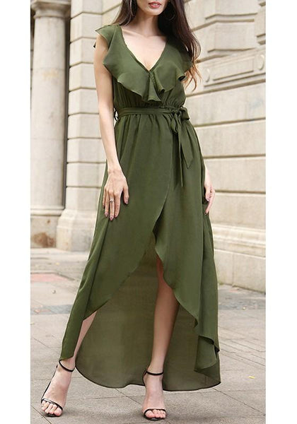 Streetstyle  Casual Army Green Plain Belt Falbala High-low Deep V-neck Elegant Maxi Dress