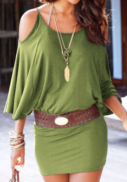 Casual Army Green Plain Condole Belt 3/4 Sleeve Mini Dress