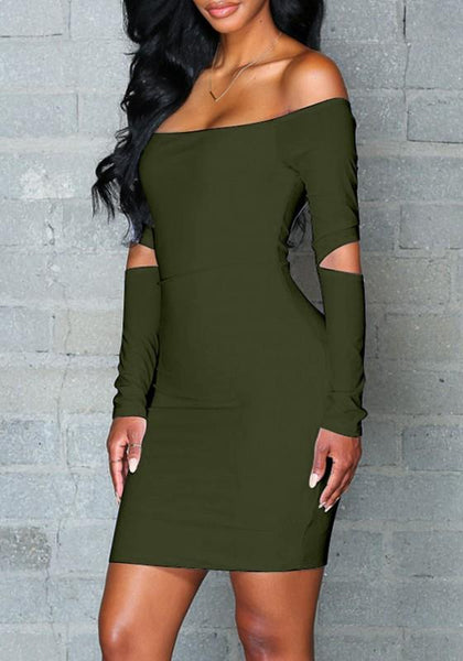 Streetstyle  Casual Army Green Plain Cut Out Boat Neck Mini Dress