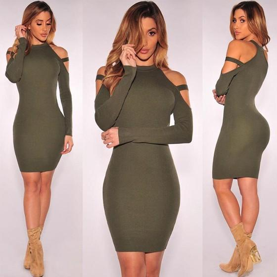 Streetstyle  Casual Army Green Plain Cut Out Round Neck Long Sleeve Mini Dress