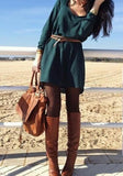 ByChicStyle Casual Army Green Plain Draped Round Neck Fashion Polyester Mini Dress