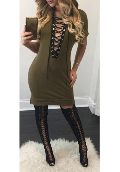 Streetstyle  Casual Army Green Plain Drawstring Plunging Neckline Short Sleeve Mini Dress