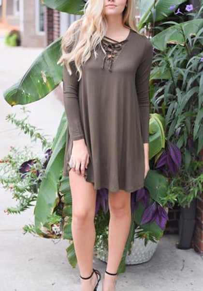 Casual Army Green Plain Drawstring V-neck Long Sleeve Mini Dress