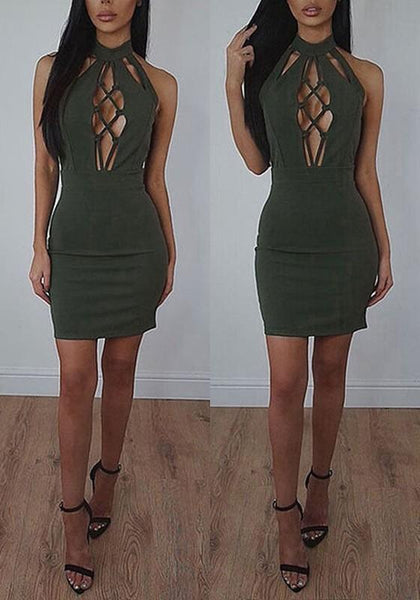 Casual Army Green Plain Hollow-out Cut Out Mini Dress