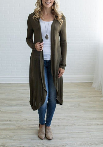 Casual Army Green Plain Polyester Casual Cardigan Sweater