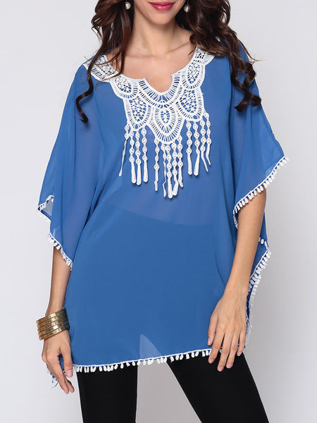 Hollow Out Lace Batwing Designed Round Neck Blouse - Bychicstyle.com