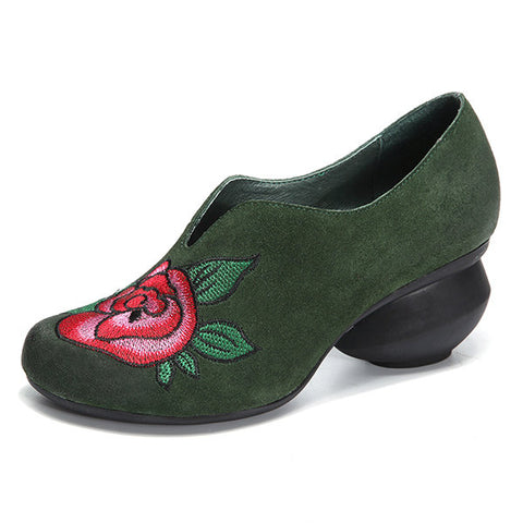 Casual Vintage Mid Heel Handmade Flower Pattern Soft Shoes