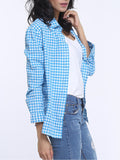 ByChicStyle Casual Plaid Lapel Long Sleeve Blouse
