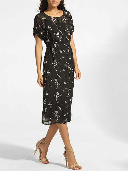 Round Neck Hollow Out Floral Roll-up Sleeve Maxi Dress - Bychicstyle.com