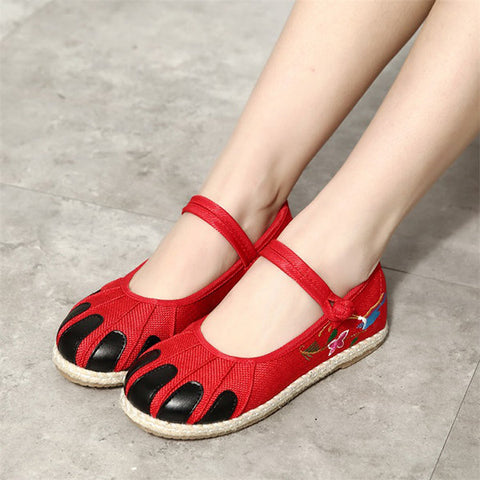 Casual Embroidered Folkways Vintage Chinese Buckle Flat Shoes
