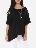 ByChicStyle Hollow Out Plain Asymmetrical Hems Exquisite Round Neck Short-sleeve-t-shirt - Bychicstyle.com