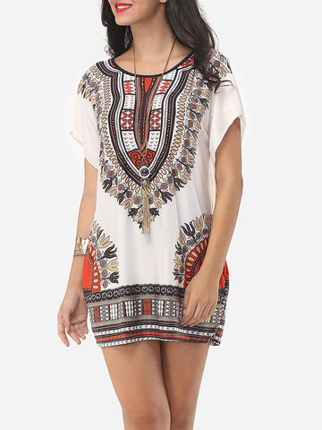 Tribal Printed Batwing Scoop Neck Short Sleeve T-shirt - Bychicstyle.com