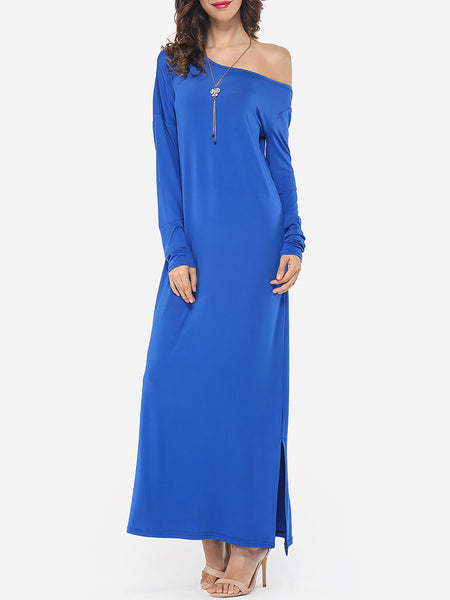 Side Slit Glamorous Round Neck Maxi-dress - Bychicstyle.com