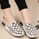 ByChicStyle Casual Canvas Pure Color Slip On Rocker Sole Platform Shake Casual Shoes