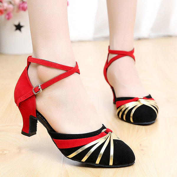 Casual Color Match Buckle Mid Heel Mary Jane Shoes