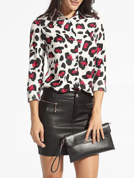 turn Down Collar Single Breasted Leopard Printed Blouse - Bychicstyle.com