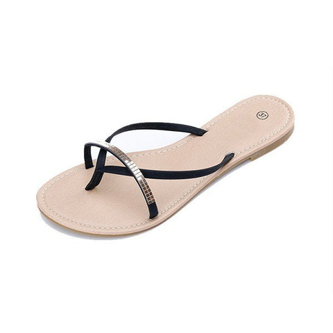 Casual Crystal Metal Chain Clip Top Flat Outdoor Beach Flip Flops Slippers