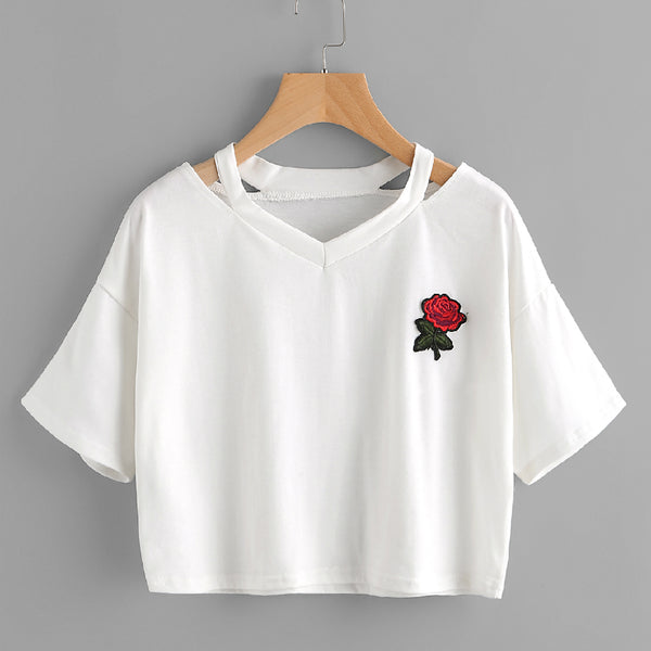 Women V Collar Roses Embroidered Short Section T-Shirt Summer Short Sleeve Casual Tops