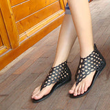 ByChicStyle Casual Bohemia Hollow Out Breathable Retro Clip Toe Flat Ankle Zipper Sandals