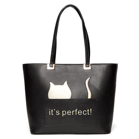 Casual Women Cat Cartoon Pattern Lovely Style Shoulder Bag Handbag