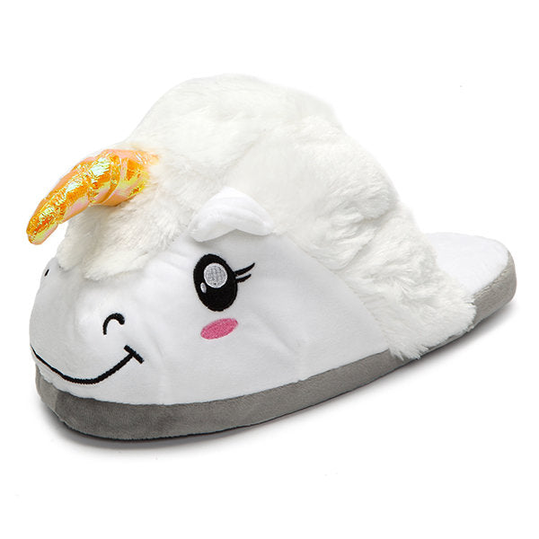 Casual Unicorn Winter Faux Fur Plush Cartoon Cosplay Indoor Flats Home Shoes