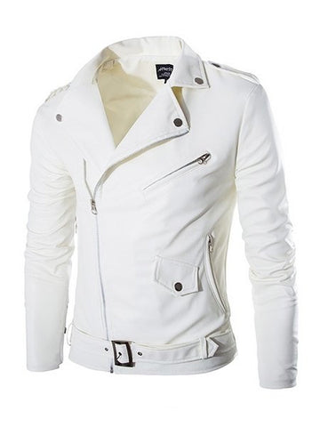Men's Plain Zip Lapel Leather Jacket - Bychicstyle.com