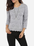 ByChicStyle Loose Fitting Round Neck Knit Hollow Out Plain Sweater - Bychicstyle.com