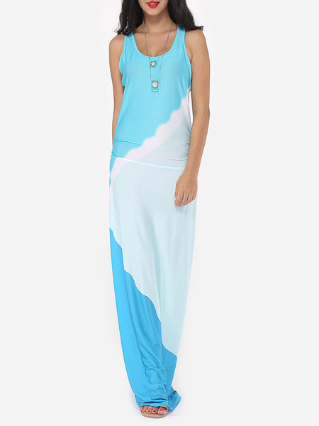Color Block Delightful Scoop Neck Maxi-dress - Bychicstyle.com