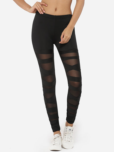 Cross Straps Dacron Gauze Patchwork Plain Leggings - Bychicstyle.com