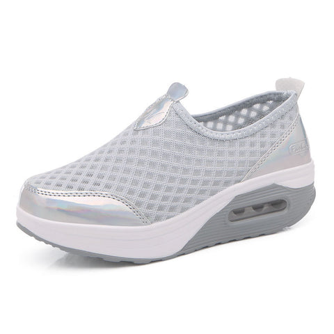 Streetstyle  Casual Large Size Breathable Mesh Platform Rocker Sole Shake Casual Shoes