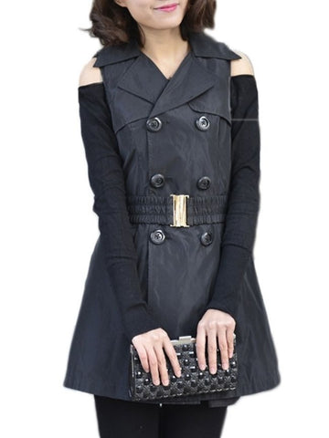 Casual Remarkable Lapel Plain Breasted Trench-coats