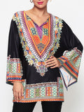ByChicStyle Casual Assorted Colors Tribal Printed Batwing Mandarin Sleeve V Neck Blouse