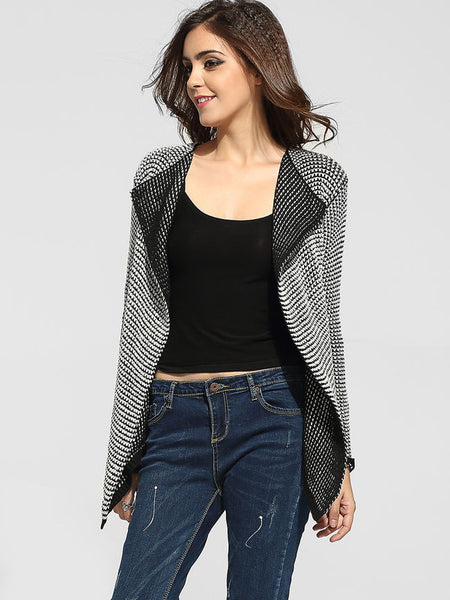 Lapel Worsted Striped Cardigan - Bychicstyle.com