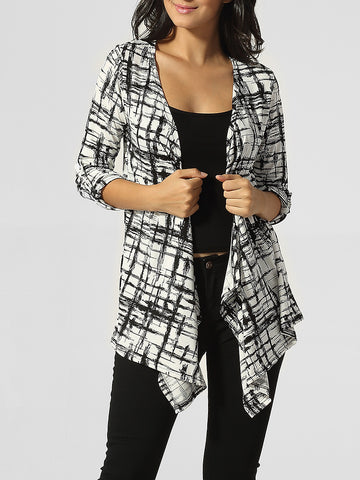 Collarless Asymmetrical Hems Plaid Cardigan - Bychicstyle.com