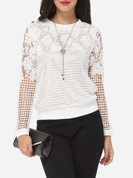 Hollow Out Lace Plain Exquisite Crew Neck Long-sleeve-t-shirt - Bychicstyle.com