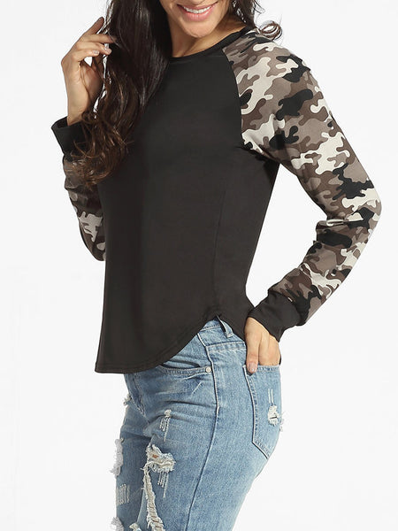 Casual Round Neck Camouflage Patchwork Long Sleeve T-shirt