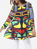 ByChicStyle Round Neck Dacron Assorted Colors Color Block Printed Long-sleeve-t-shirt - Bychicstyle.com