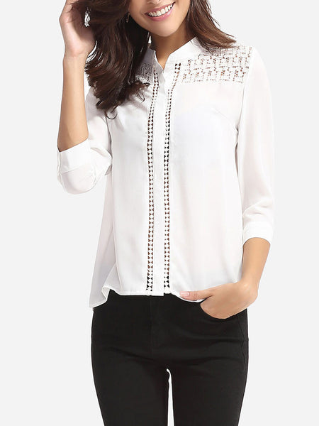 Hollow Out Plain Chic Band Collar Blouse - Bychicstyle.com