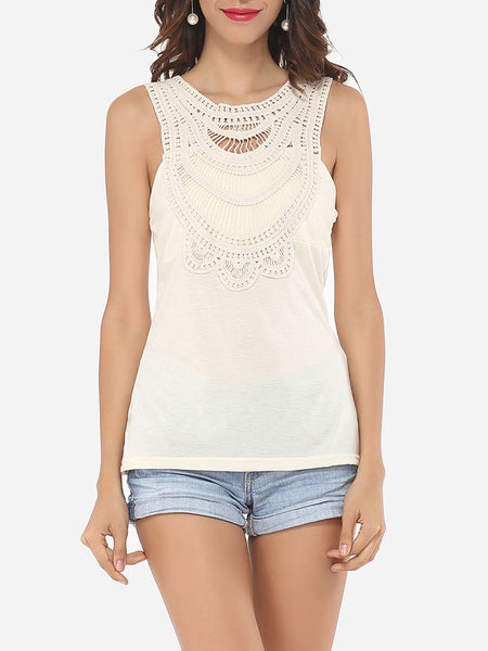 Hollow Out Lace Patchwork Plain Lovely Round Neck Sleeveless-t-shirt - Bychicstyle.com