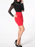 ByChicStyle Single Breasted Plain High-rise Waist Above-knee-skirt - Bychicstyle.com