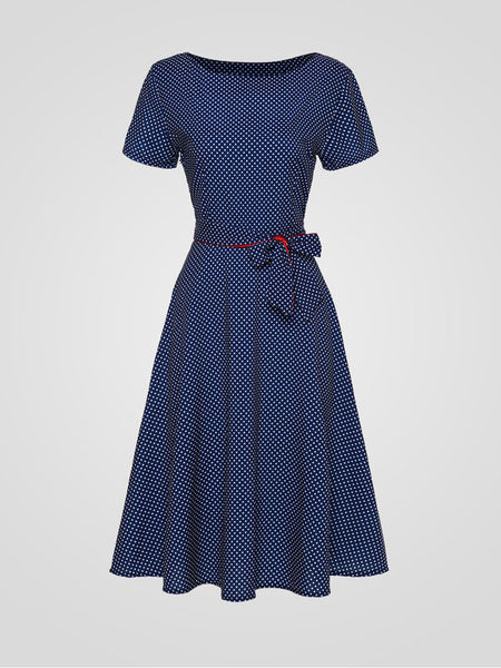 Casual Polka Dot Bowknot Exquisite Round Neck Skater Dress