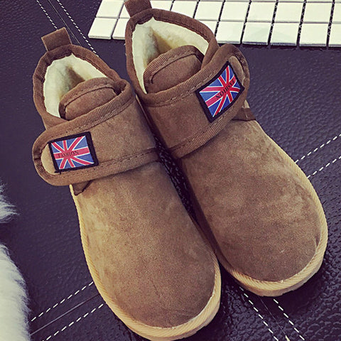 Casual Flag Union Jack Hook Loop Flat Casual Boots For Women