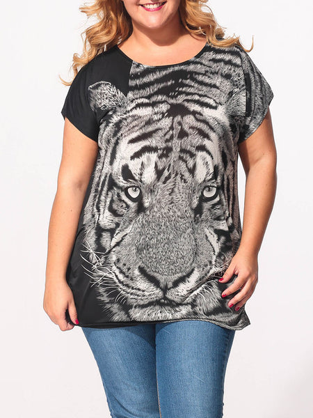 Round Neck Tiger Printed Plus-size-t-shirts - Bychicstyle.com