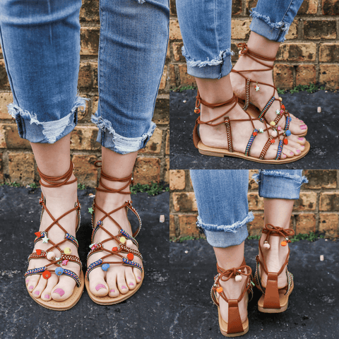 Sandals - Ladies Boho Style Flat Sandals