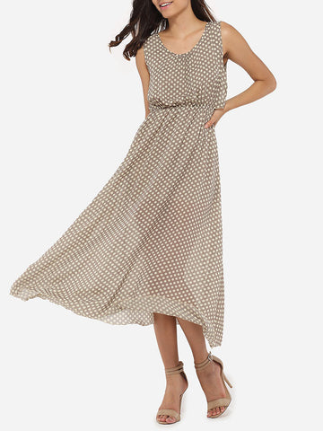 Casual Round Neck Dacron Polka Dot Printed Maxi-dress