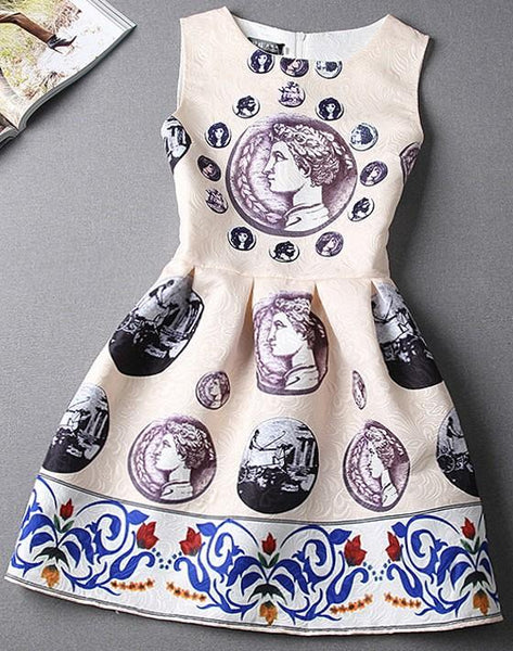 Casual Beige Currency Pattern Print Zipper Sleeveless Dress